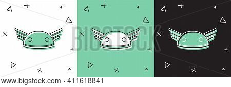 Set Helmet With Wings Icon Isolated On White And Green, Black Background. Greek God Hermes. Vector