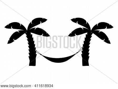 Hammock Icon In Black Color. Hammock Between Palm Trees. Glyph Icon Relaxes. Palm Trees On The Beach
