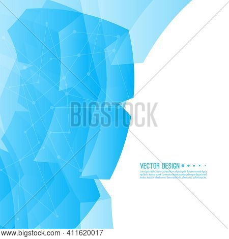 Vector Abstract Background With Blue Transparent Cubic Blocks. Concept New Technology And Dynamic Mo