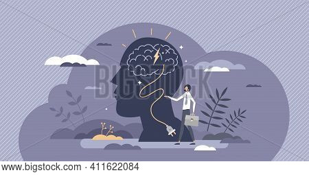 Brain Recharge And Fill Up Head Energy To Think Creative Tiny Person Concept