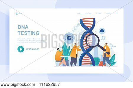 Male And Female Characters Are Testing Dna With Magnifier. Scientists Studying Dna Together In A Lab