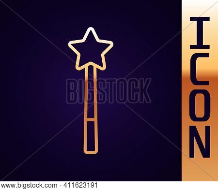 Gold Line Magic Wand Icon Isolated On Black Background. Star Shape Magic Accessory. Magical Power. V
