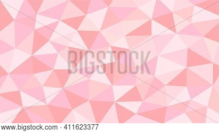 Pink And Orange Soft Pastel Color Gradient Abstract Geometric Triangular Polygon Style. Graphic Back