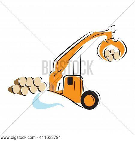 Vector Illustration With Cartoon Flat Industrial Excavator. Vector Construction Equipment. Mining Fl