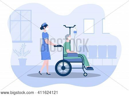 Doctor Or Nurse In Face Mask Helping With An Patient, The Nurse Pushes The Wheelchair With Disabled