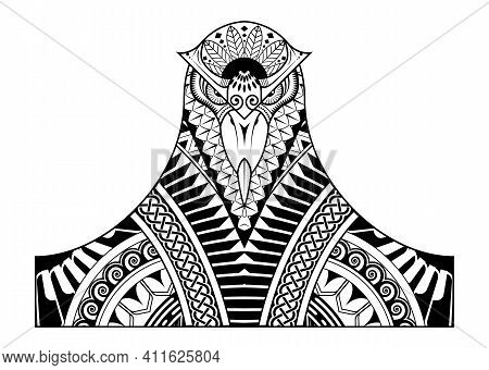 Tribal Tattoo Head Bird Featuring A Fusion Of Maori Style Ornament And Polynesian Style Vector