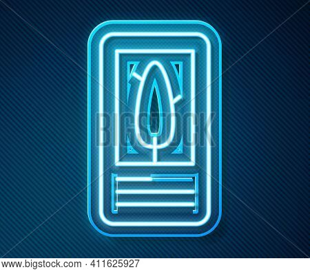 Glowing Neon Line Tarot Cards Icon Isolated On Blue Background. Magic Occult Set Of Tarot Cards. Vec
