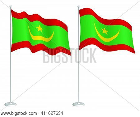 Flag Of Mauritania On Flagpole Waving In Wind. Holiday Design Element. Checkpoint For Map Symbols. I