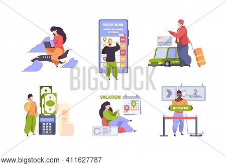 Online Booking. Traveling Concept Scenes With Characters Fly Ticket Mobile Check In Hotel Purchase P