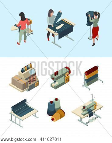 Sewing Industry. Textile Factory Craft Fabric Processes Automotive Sewing Machines People Making Clo
