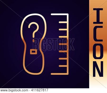 Gold Line Square Measure Foot Size Icon Isolated On Black Background. Shoe Size, Bare Foot Measuring
