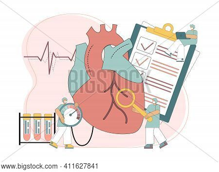 Cardiology Concept. Heart Treatment. Disease Of Hypertension. Heart Failure. Diagnosing The Disease.