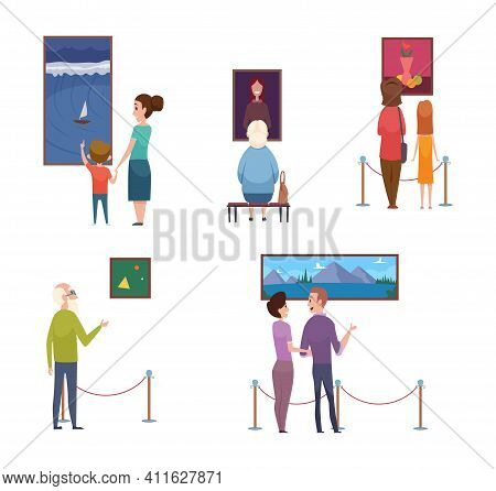 People And Arts. Men Women Kids In Museum, Artistic Exhibition Vector Illustration. Woman And Man On
