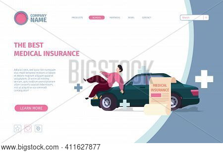 Car Insurance Landing. Accident With Automobiles Safety Auto Garish Vector Web Template With Concept