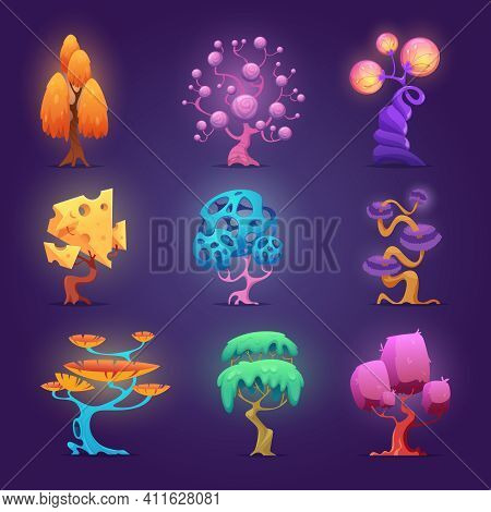 Fairytale Plants. Magic Tree Glowing Effects Fantasy Gardening Symbols Collection Exact Vector Fairy