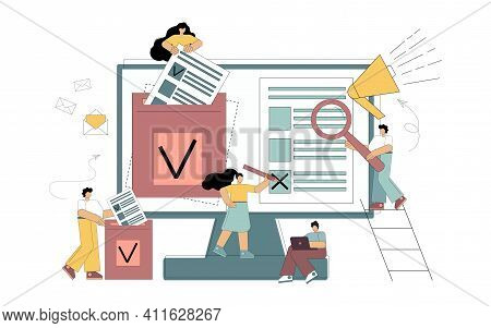 Internet Voting Concept. Modern System Of Electronic Elections. Little Flat People Are Voters, Make