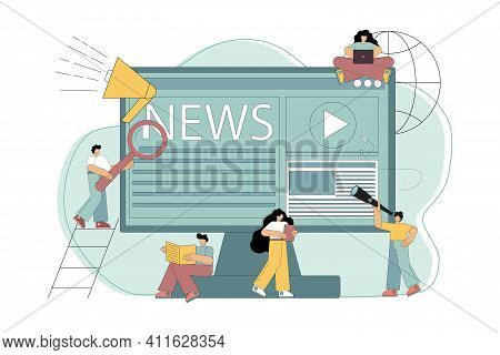 Online News, News, Information About Events, Announcements. Little People Get News Using Gadgets. Ve