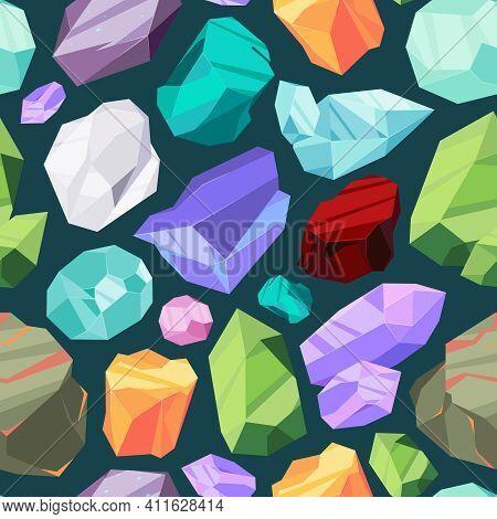Gemstones Pattern. Luxury Ruby Diamond Crystal Brilliant Textile Design Garish Vector Seamless Backg