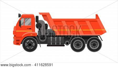 Dump Truck. Heavy Truck With Bodywork, Machine At A Construction Site, Special Transport, Side View
