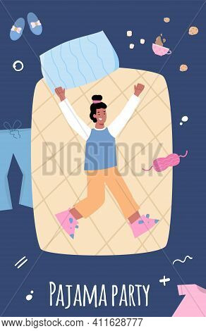 Pajama Party Banner Or Poster Mockup With Cheerful Young Girl In Bed, Cartoon Vector Illustration. I