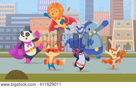 City Superhero Animals. Urban Landscape With Skylines Buildings Strong Defenders Animals Exact Vecto