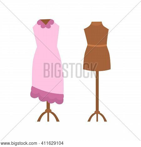 Tailor Mannequin Empty And With Beautiful Dress, Cartoon Vector Illustration Isolated On White Backg