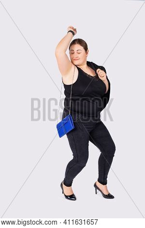 Portrait Of Fat Caucasian Businesswoman, Full Length, Wearing Formal Attire And Black Shoes While Ch