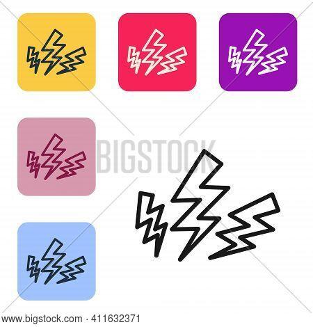 Black Line Zeus Icon Isolated On White Background. Greek God. God Of Lightning. Set Icons In Color S