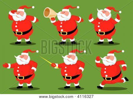 Six Cartoon Santas.eps