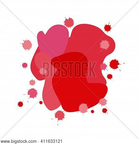 Abstract Composition In Pink Red Tones. Bionic Spots Background. Splatter Set. Isolated On White. Li