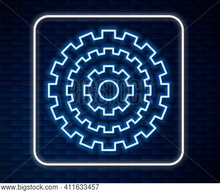 Glowing Neon Line Bicycle Cassette Mountain Bike Icon Isolated On Brick Wall Background. Rear Bicycl