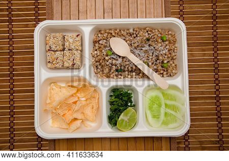 Upvaas Thali Or Food Specially Made For Fasting, In Maharashtra Includes Sabudana Khichadi, Rajgira