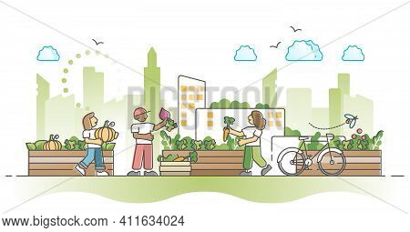City Gardening And Agriculture Farming In Urban Environment Outline Concept