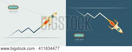 Bitcoin Digital Currency Sign With Rocket Up And Down On Graph Concept Vector Illustration