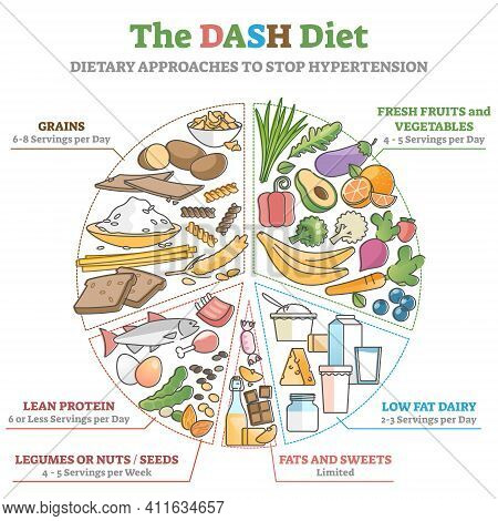 The Dash Food Diet As Dietary Approach To Stop Hypertension Outline Diagram