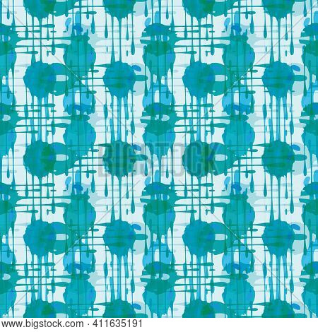 Abstract Paint Drip Weave Effect Grid Seamless Vector Pattern Background. Overlapping Cyan And Aqua