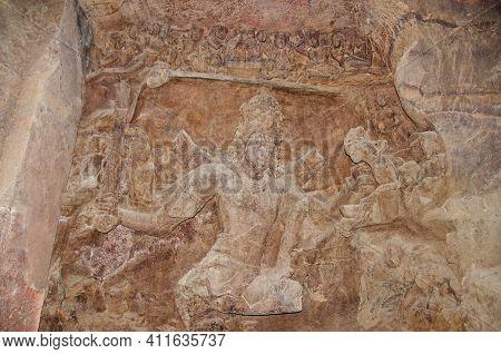 Carved Idol Of Stone Inside Cave 1, Elephanta Caves, Gharapuri Island, Mumbai, Maharashtra, India