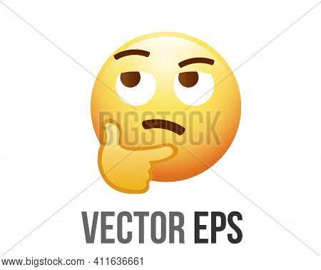 The Isolated Vector Yellow Pondering, Thinking Or Deep In Thought Face With Index Finger Resting On