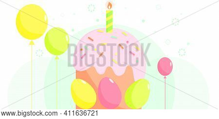 Easter Cake With A Candle And Colorful Easter Eggs. Vector Holiday Greeting Card. Happy Easter Day B