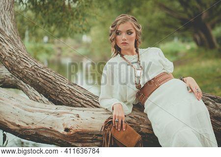 Young Nice Woman Fashion Model Relaxing Outdoor