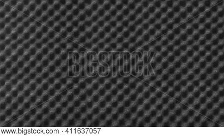 Studio Sound Black Color Acoustic Foam Background Texture