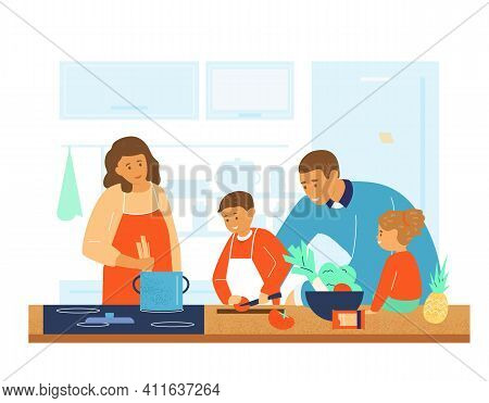Happy Family Cooking Together In The Kitchen. Parents Teaching Kids To Cook. Flat Vector Illustratio
