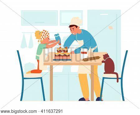 Vector Illustration Of Children In Aprons Making Cake Together In The Kitchen. Older Brother Helps H
