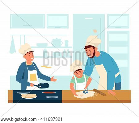 Dad In Apron And Chef's Hat Cooking With Sons In The Kitchen. Making Pancakes And Cookies With Child