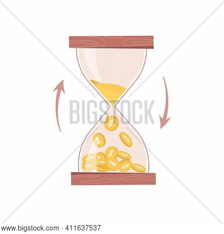 Hourglass, Sand Or Time Turns Into Money Isolated Business Countdown Flat Cartoon Icon. Time Managem