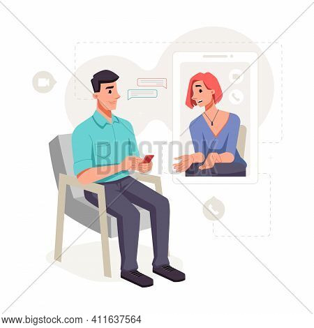 Female Patient Communicates With Psychologist Online, Video Audio Call. Consultation On Computer At