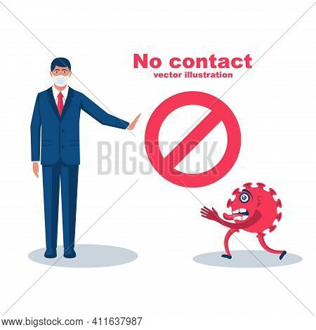 Bacteria On Hand. Coronavirus Transmitted Through A Handshake. Gesture No Physical Contact. Vector I