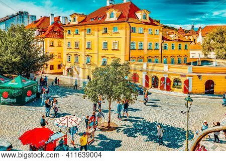 Prague, Czech Republic-september 5, 2015: Quarters And Streets With People On  Prague's Mala Strana(