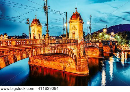Prague, Czech Republic- September 13, 2015: Beautiful View Old Bridge Legii (most Legii) From The Wa