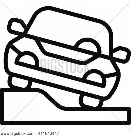 Pavement Parking Icon, Parking Lot Related Vector Illustration
